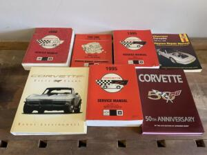 Seven (7) Books: Four Corvette Service Manuals 1995, 1990, and 1993, One Haynes Repair Manual 1984-1996, and Two Coffee Table Books about Corvettes