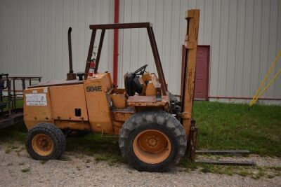 CASE 584E CONSTRUCTION KING Rough Terrain Forklift, CUMMINS 4BT diesel engine, OROPS, 3728 hours showing, 21 ft. mast height, runs good –SELLER RESERVES RIGHT TO RETAIN & USE CASE FORKLIFT FOR LOAD-OUT ON FRIDAY & SATURDAY, OCTOBER  23 & 24. BUYER MAY TAK
