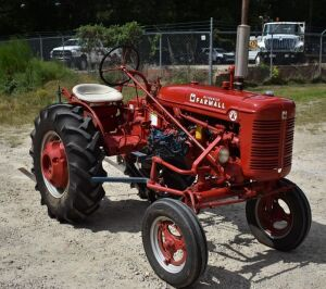1950 FARMALL  SUPER A Tractor, nicely refurbished & repainted, New Tires, 2 Cultivating Plows & Fertilizer attachment (no bucket), Serial # 297594