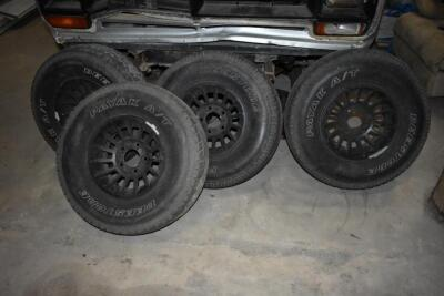 "Four ""5 lug"" rims, 15"" rim size, blackout spoke rims ""stock Dodge Style"", ""Deestone"" Brand All Terrain. PLEASE VIEW ALL PHOTOS"
