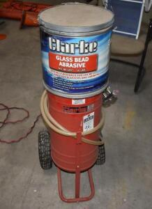 CLARK sandblaster w/container and sand bead blasting material. PLEASE VIEW ALL PHOTOS
