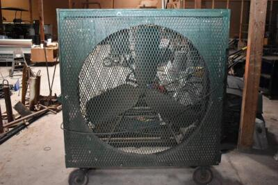 X-large Custom Made Portable Shop Fan on rollers - working order. PLEASE VIEW ALL PHOTOS