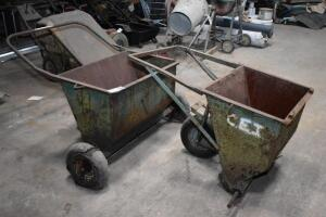 Two Roofing Rock Dispenser Buggies, one needs 2 wheels. Other uses & applications. PLEASE VIEW ALL PHOTOS