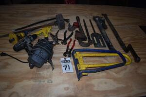 assorted tools, roofing tools, rivet gun, hole saw bits. PLEASE VIEW ALL PHOTOS