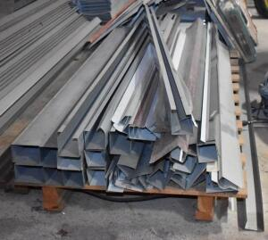 Large assortment of new sheet metal down spouts mostly all 10' long. PLEASE VIEW ALL PHOTOS