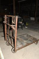early 1900's Warehouse / Feed Store style 4 wheel Cart, with steel wheels and oak platform. Heavy Duty steel wheels with rubber type covering - 4