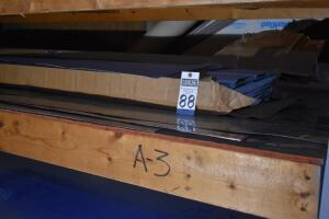"Contents of Shelf A-3: approx. 7 pieces, 18 ga. stainless sheets, 10 ft. long x 18"" to"" in width, & 2 partial boxes 10 ft., soffit panels, double 6"