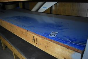 "Contents of shelf A-4: 12 sheets of .032 aluminum 4 ft. x 10 ft. w/ custom prefinish ""HONDA BLUE"" PLEASE VIEW ALL PHOTOS"