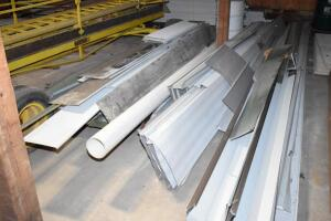 large assortment misc. sheet metal, roofing sheet metal, etc. PLEASE VIEW ALL PHOTOS