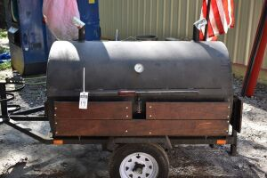 Custom Made Gas PIG COOKER, Tow Behind single axle, main grill 60 in.X34 in., warming platform 56 in.X16 in., accommodates two 20 lb. LP tanks, thermometer