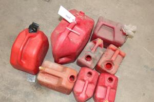 assorted Plastic Gas Cans, various sizes, missing caps
