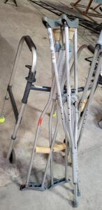 assorted Aluminum Crutches, one walker
