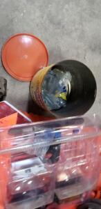 assorted safety items: Safety Netting, Safety Traffic Cone, Extension Cord, electrical parts