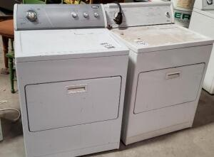 two used Dryers - one is a WHIRLPOOL, other unknown brand, possibly KENMORE?
