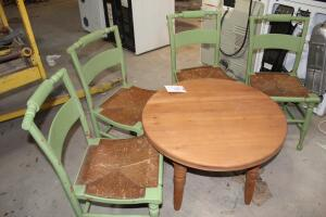four (4) nice Dining Chairs & round 4 leg Cafe Table