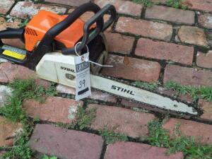 STIHL MS 170 Chainsaw - Lightweight with an Engine Power at 1.7 bhp; Weighs 8.6 lbs. and has a fuel capacity of 8.5 oz. Working Condition Unknown