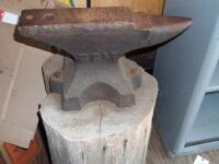 GEMI Cast Iron Anvil with Base Dimensions: Face width-3 1/2 in. Length-18 in; Height-10 1/2 in; Weight was stamped CWT system; - 13