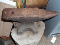 GEMI Cast Iron Anvil with Base Dimensions: Face width-3 1/2 in. Length-18 in; Height-10 1/2 in; Weight was stamped CWT system; - 14