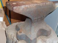 GEMI Cast Iron Anvil with Base Dimensions: Face width-3 1/2 in. Length-18 in; Height-10 1/2 in; Weight was stamped CWT system; - 16
