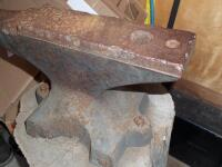 GEMI Cast Iron Anvil with Base Dimensions: Face width-3 1/2 in. Length-18 in; Height-10 1/2 in; Weight was stamped CWT system; - 20