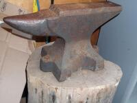 GEMI Cast Iron Anvil with Base Dimensions: Face width-3 1/2 in. Length-18 in; Height-10 1/2 in; Weight was stamped CWT system; - 22