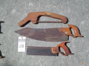 3 Saws with Approx. Blade Lengths 8 in., 10 in., 18 in. Two saws of unique style and brand.