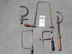 5 Hand Working Tools Including 2 Circle Half Moon Measuring Unit and 3 Hacksaws, 2 Without Blades