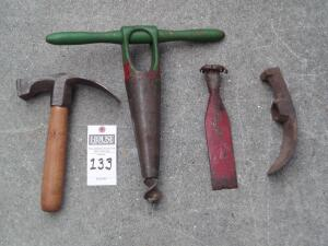 4 Wood Working Tools Including a Tomahawk Axe Head, Tomahawk Axe, Large Steele Grinder and Splitting blank