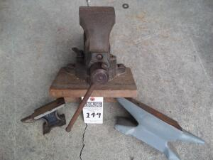 Vintage Charles Parker 973 Bench Vise with 2 Anvils - Gray Anvil Measures 4 in. x 11 in. and Smaller Anvil Measures 3 in. x 5 in.