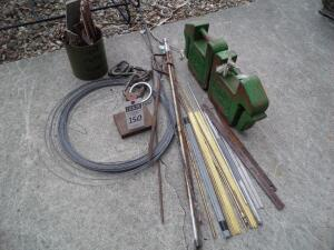 Array of Sheet Metal Scrap, Solid Brass, Gold Tinted Rods, Measurement Sticks, Approx. 15 feet Wire/Interlocking and Steel Weight with Vertical Bar