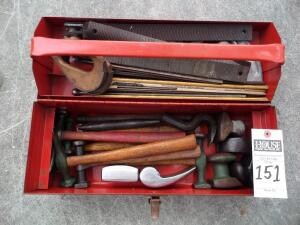 Red PROTO Toolbox with Lathing Tools Vintage Red PROTO Tools 100HR Portable Tool Box W/Tray; It is used - expect normal use, has nicks, and scratches