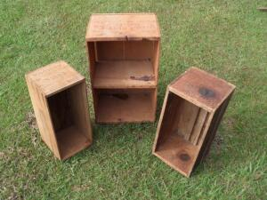 VINTAGE Wooden Crates - Approx. Measurements 12 in. x 20 in., 7 in. x 15 in., & 8 in. x 16 in.