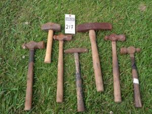Seven Various Hammers/Sledge Hammers Sizes Approx. 7 in. - 15 in.