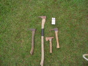 4 Farming Tools - 3 Pick Axes and 1 Small Hatchet - SEE ALL PHOTOS FOR MEASURMENTS