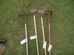 4 Outdoor Tools Including a Rake, 2 Ice Scraping Hoes, and 1 Garden Hoe