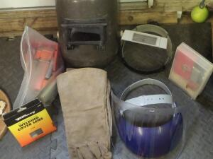 Various Fask Masks/Welding Cover Lens & tools/refills, Clear Fask Mask; Magni Focuser with Welding; The head strap is broken on the Welding Mask