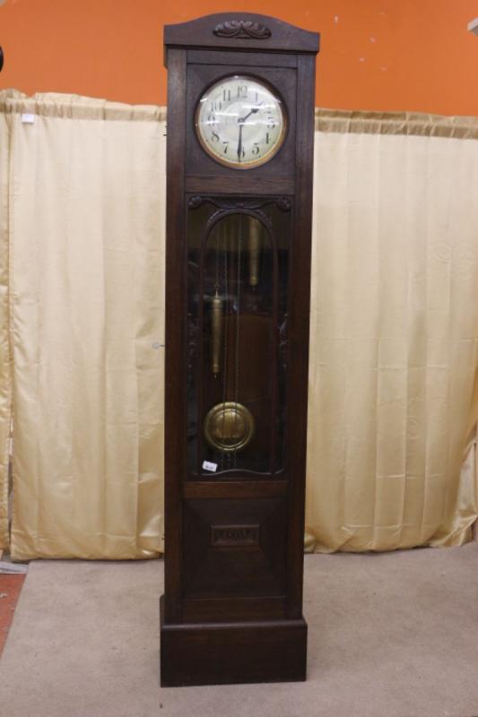 Tall Oak Case Grandfather Clock Germany Volta Circa 1900