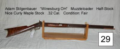 "Adam Stilgenbauer, ""Winesburg OH"", muzzleloader, half-stock, nice curly maple stock, .32 Cal."