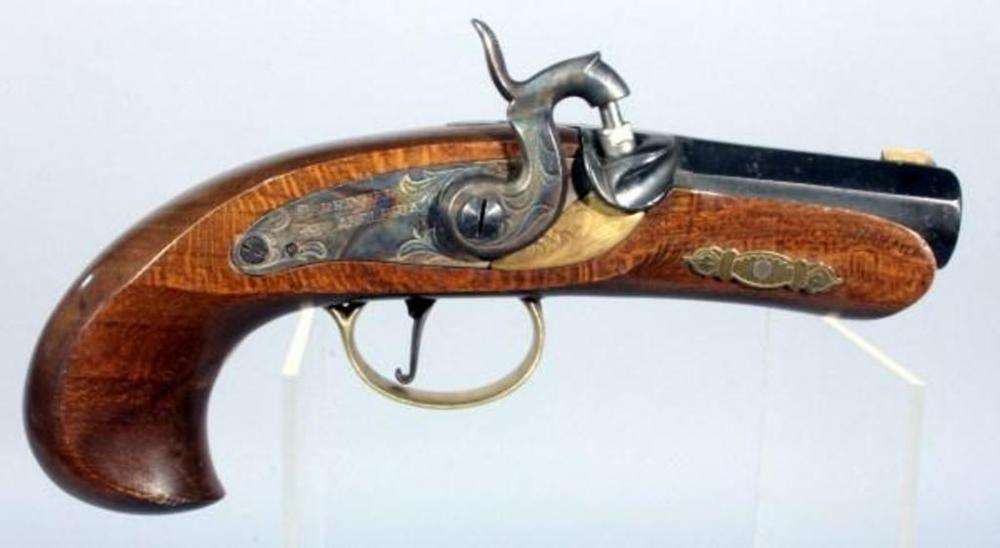 Jukar Spain Black Powder Pistol, SN#008071, Side Plate Reads