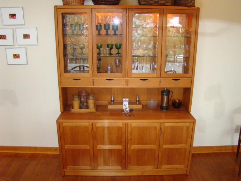Mid Century Modern Danish Vintage D Scan Solid Teak Dining Room Hutch 2 Piece CONTENTS NOT INCLUDED