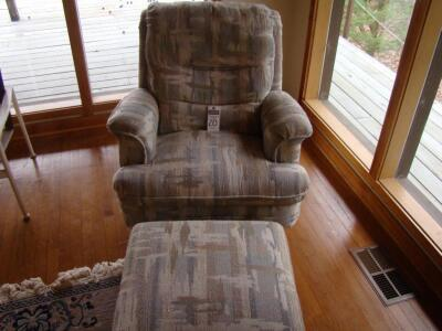 Chair, Rock/Swivel, with matching ottoman, fully upholstered.
