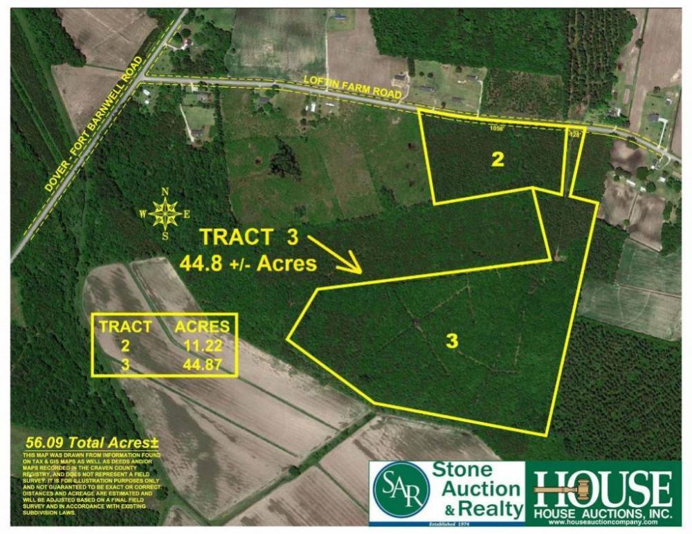 44 8 +/- Acres - Craven County, 300 block of Loftin Farm Road, Dover